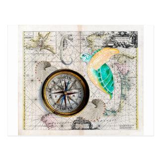 Vintage del compás de la tortuga de mar tarjeta postal