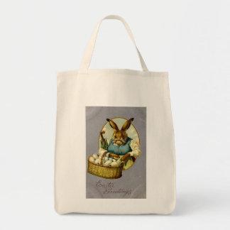 Vintage del conejito de pascua bolsa