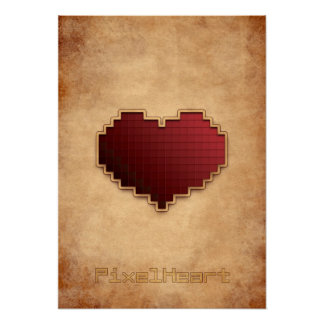 Vintage del corazón del pixel poster