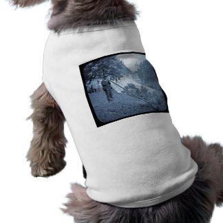 Vintage del cuerno de la montaña de la diapositiva playera sin mangas para perro