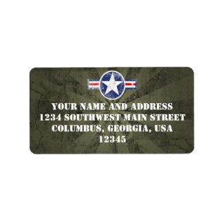 Vintage del cuerpo de aire del ejército etiquetas de dirección
