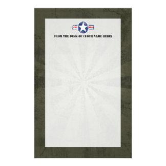 Vintage del cuerpo de aire del ejército  papeleria de diseño
