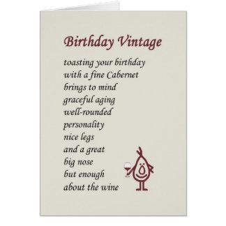 Vintage del cumpleaños - un poema divertido del cu tarjeta de felicitación