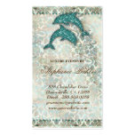 Vintage del delfín de la playa de la tarjeta de vi plantilla de tarjeta de visita