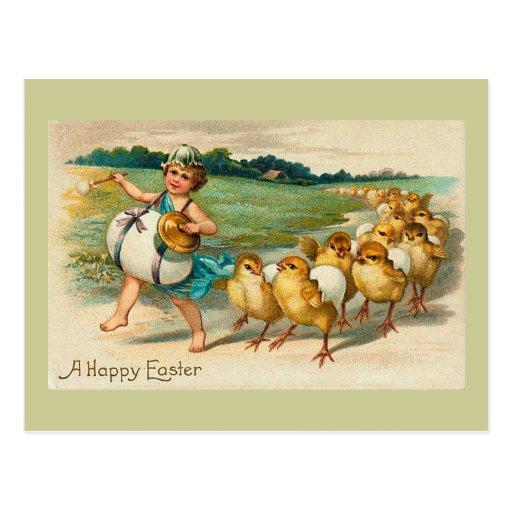 Vintage del desfile del polluelo de Pascua Postal