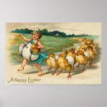 Vintage del desfile del polluelo de Pascua Poster