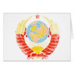 Vintage del escudo de armas de Unión Soviética Tarjeton