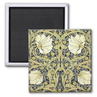 Vintage del estampado de flores del verde amarillo imán cuadrado