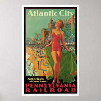 Vintage del ferrocarril de Atlantic City Poster