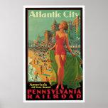 Vintage del ferrocarril de Atlantic City Póster