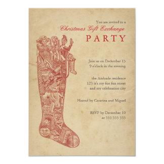 """Vintage del fiesta del intercambio del regalo del invitación 4.5"""" x 6.25"""""""