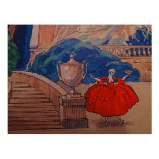 Vintage del francés del art déco de la placa de postal