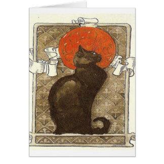 vintage del francés del gato negro tarjeta de felicitación
