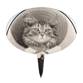 Vintage del gato del gorra decoraciones para tartas