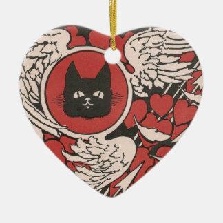 Vintage del gato negro, de los corazones y de las  ornamento para arbol de navidad