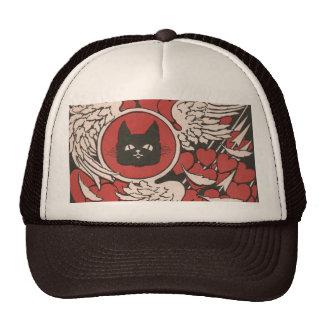 Vintage del gato negro, de los corazones y de las  gorros