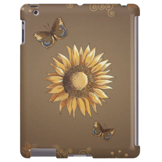 Vintage del girasol y de las mariposas elegante funda para iPad
