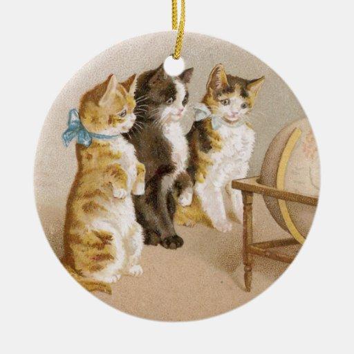 Vintage del globo de la búsqueda de los gatitos ornamento de navidad