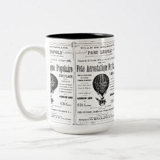 Vintage del globo del aire caliente taza de dos tonos