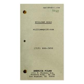 Vintage del guionista tarjetas de visita