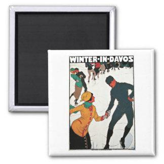 Vintage del invierno de Davos Suiza Imán De Frigorifico