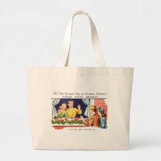 Vintage del kitsch le faltamos escuela dominical bolsa tela grande