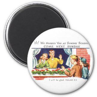 Vintage del kitsch le faltamos escuela dominical imán redondo 5 cm