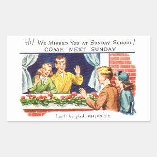 Vintage del kitsch le faltamos escuela dominical pegatina rectangular