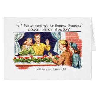 Vintage del kitsch le faltamos escuela dominical tarjeta de felicitación