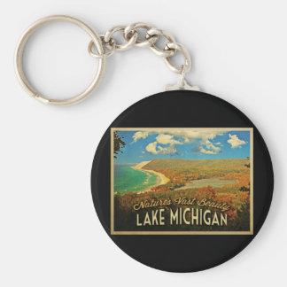 Vintage del lago Michigan Llaveros Personalizados