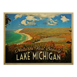Vintage del lago Michigan Impresiones