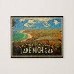 Vintage del lago Michigan Rompecabeza
