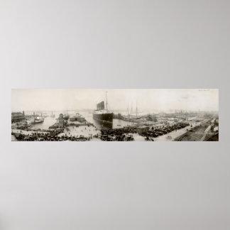 Vintage del Lusitania del RMS New York City 1907 Poster