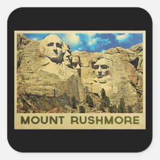 Vintage del monte Rushmore Pegatina Cuadrada