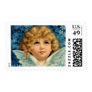 Vintage del niño del Victorian del ángel azul del