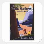 Vintage del noroeste pacífico de la visita colcomanias cuadradass
