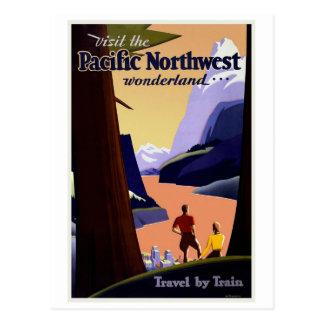 Vintage del noroeste pacífico de la visita postal