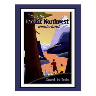 Vintage del noroeste pacífico de los saludos de la postales