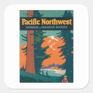 Vintage del noroeste pacífico pegatina cuadrada