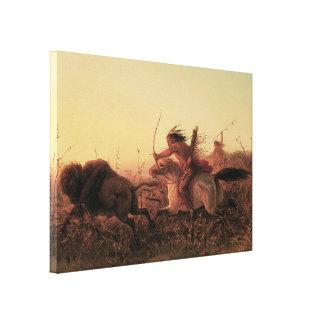 Vintage del oeste, caza del búfalo indio de impresiones en lona estiradas