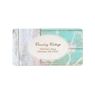 Vintage del país, boutique elegante de madera etiqueta de dirección