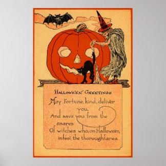 Vintage del palo del gato negro de la bruja de la  póster