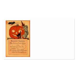Vintage del palo del gato negro de la bruja de la  tarjetas de visita