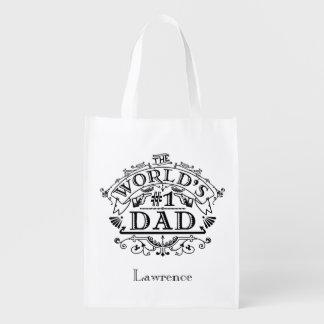 Vintage del papá del número uno del mundo bolsas para la compra