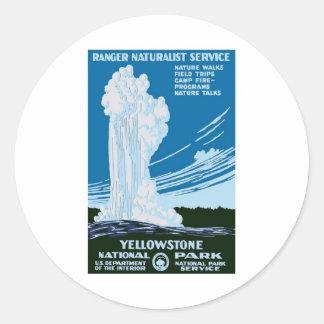 Vintage del parque nacional de Yellowstone Pegatina Redonda
