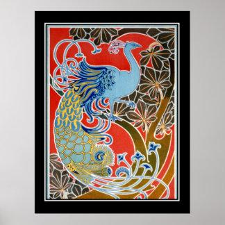 Vintage del pavo real del art déco póster