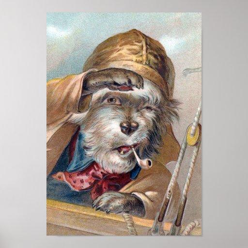 """Vintage """"del perro de mar viejo"""" póster"""