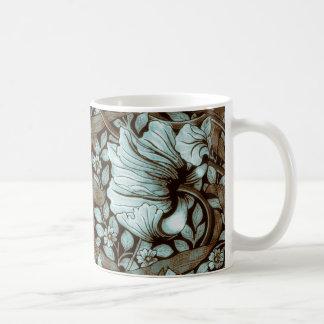 Vintage del Pimpernel de William Morris floral Taza Básica Blanca