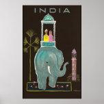 Vintage del poster del viaje de la India Póster