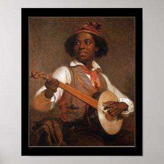 Vintage del poster el jugador del banjo